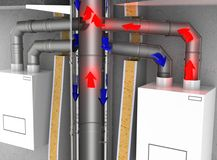 Схема движения воздуха и дымовых газов