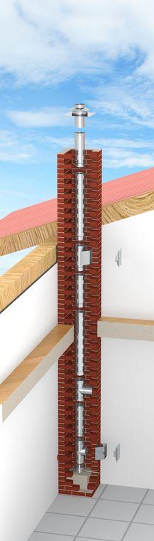 Druckdichter einwandiger Edelstahlschornstein Schornsteinsanierung oder als Verbindungsleitung einer Abgasanlage